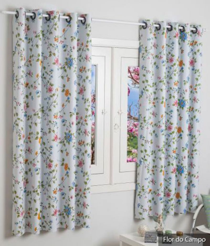 Cortina Blackout Estampado Flor do Campo com 2 Folhas